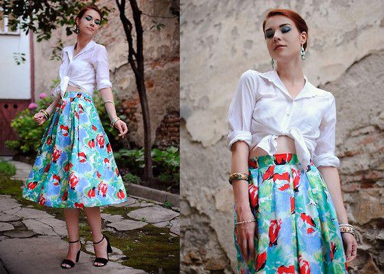 Vintage Silk Skirt, Stradivarius Suede Sandals