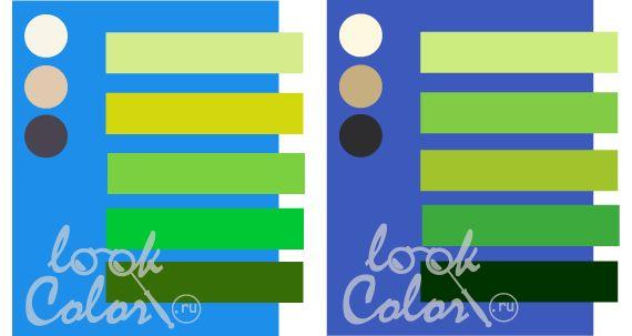 сочетание сине голубого и сине фиолетового с  теплым зеленым