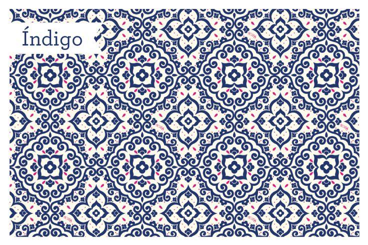 Indigo: Las formas infinitas de los diseños arabes, se mezclan con la chispa del azul indigo y el rosado neón. compra en: www.hojas.com.co #Índigo #NuevaColección #Hojas2015