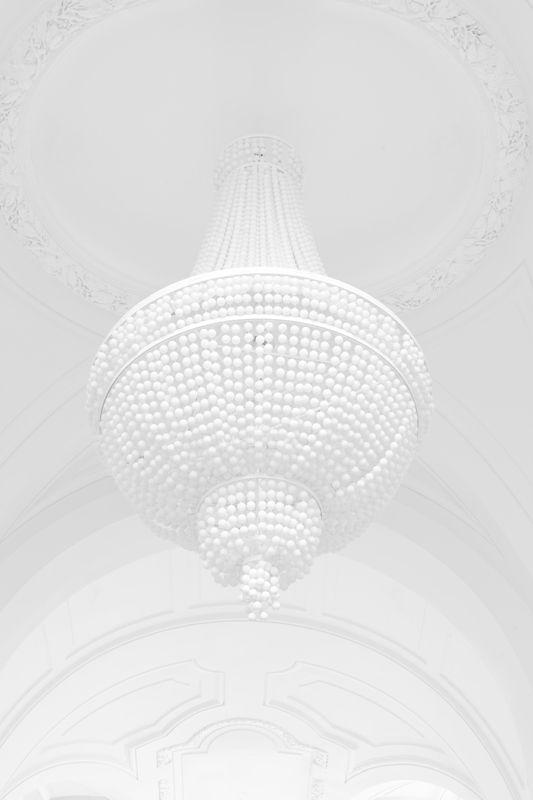 White Chandelier & White Ceiling