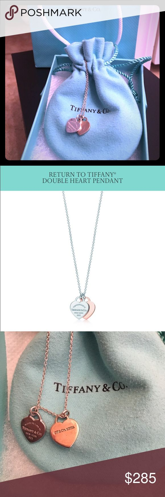 """AUTHENTIC Tiffany&Co double heart necklace Authentic Tifdany&Co double heart necklace. This it the Rubedo and Sterling silver edition. Excellent condition. It was also altered as I put it on an 18"""" chain as opposed to the standard """"16. The necklace itself is $250 and the chain cost me an additional $65. In total it was $315 + tax was a grand total of $346 so NO LOW OFFERS OR TRADES  will be considered. I can have it cleaned at Tiffanys before I ship it out at your request. Tiffany & Co…"""