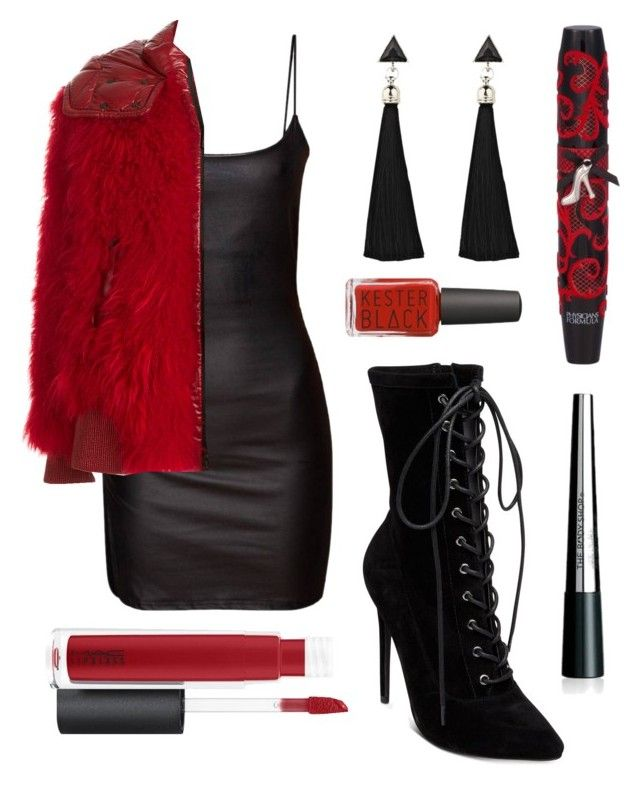 """Classic Red"" by justmediocrecontent on Polyvore featuring Moncler Grenoble, Steve Madden, John Lewis, Physicians Formula and The Body Shop"