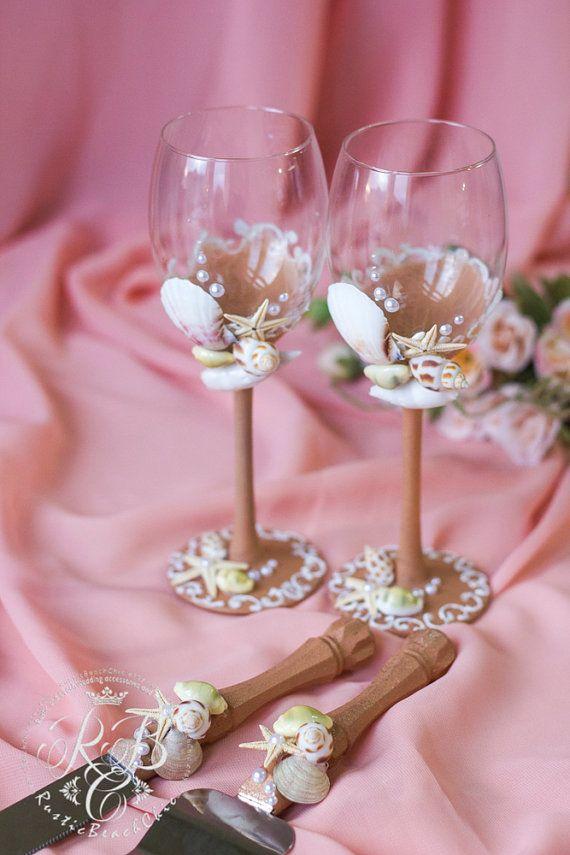 Beach Wedding Set Cake Server And Knife Wine Glasss Sea Wedding
