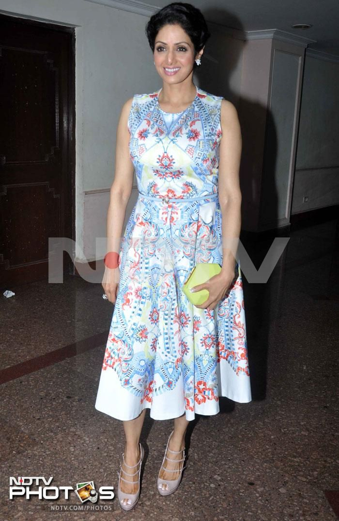 After a series of appearances in Indian outfits, Sridevi opted for a change at a book launch in Mumbai and must say, we are impressed. The actress wore a pretty dress by Temperley London at the event.