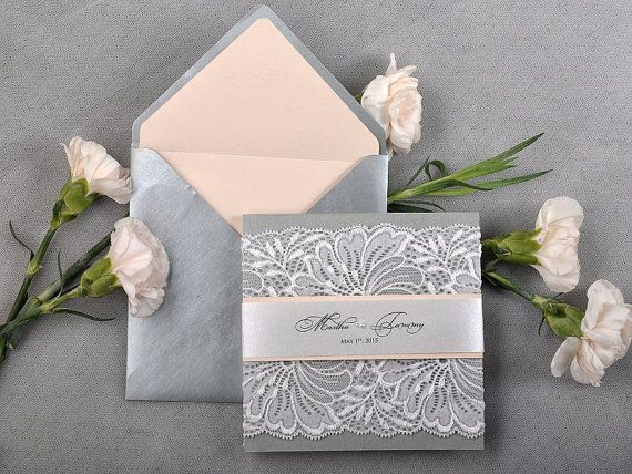 Peach Silver  Lace  Wedding Invitation Pocket by 4LOVEPolkaDots, $6.50