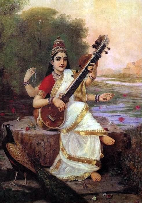 Goddess Saraswati sits on the bank of a river; holds a book and beads, and plays music, a peacock looks on, in a painting by Raja Ravi Varma