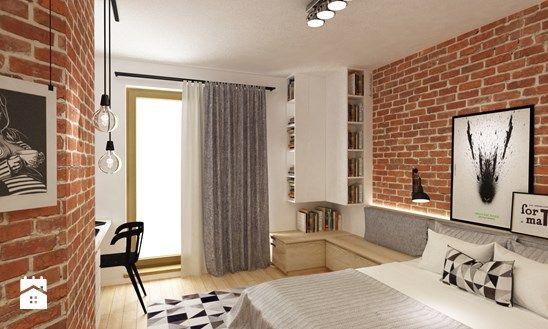 sypialnie nowoczesne - Średnia sypialnia małżeńska z balkonem / tarasem, styl skandynawski - zdjęcie od Grafika i Projekt architektura wnętrz