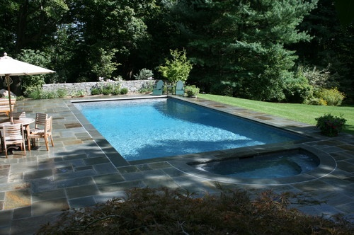 pool surrounding stone pavers simple rectangular pool with jacuzzi end pool pinterest rectangular pool and jacuzzi - Pool And Patio Ideas