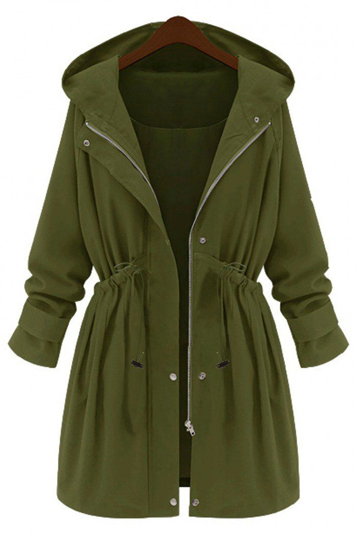 Plus Size Army Green Hooded Parka Coat - US$55.95 -YOINS