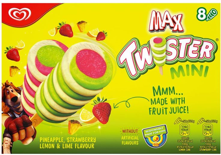 Wall's Mini Twister Ice Cream Lollies - Pineapple, Strawberry & Lemon (8x50ml) | Compare Prices, Buy Online | mySupermarket