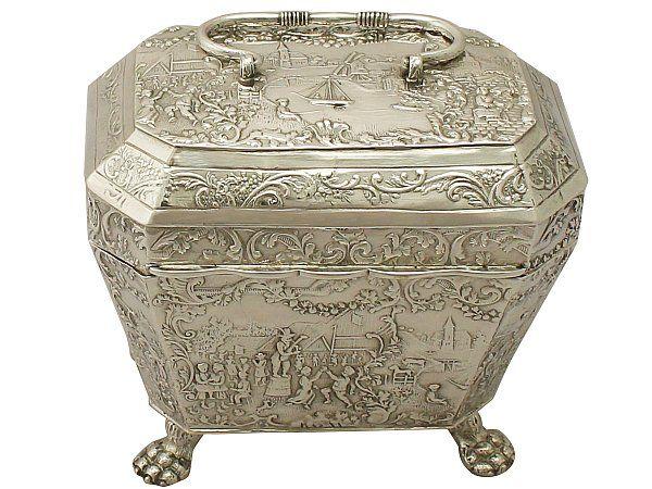 'Dutch Silver Tea Caddy - Antique Circa 1890' http://www.acsilver.co.uk/shop/pc/Dutch-Silver-Tea-Caddy-Antique-Circa-1890-38p9489.htm