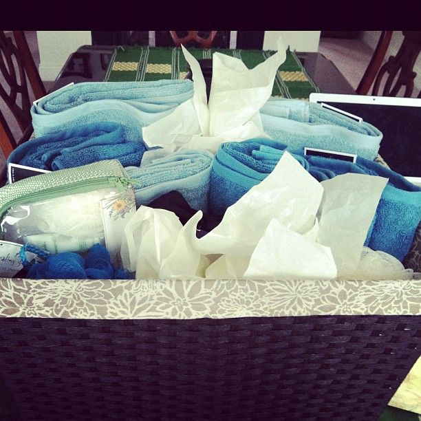 Bridal Shower Gift :) Towels, spa things, loofas...laundry basket