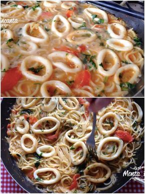 Uma autêntica Fideuá de lulas, super cremosa e muito saborosa. Parece uma paella, mas leva macarrão no lugar do arroz.  Receita prática, fácil de fazer.