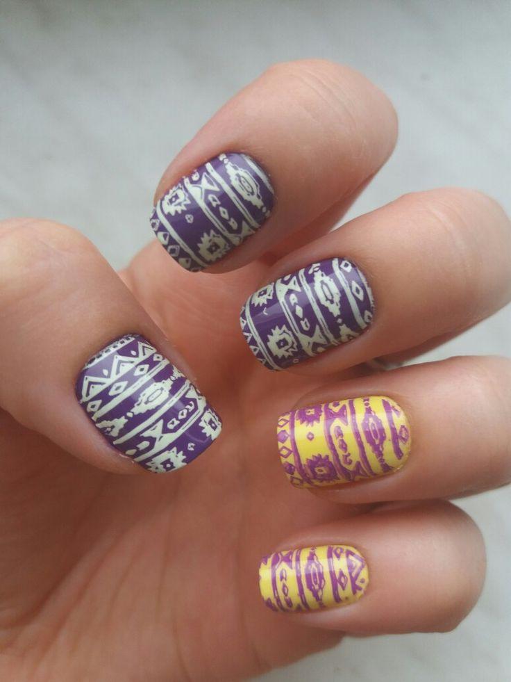 Aztec/tribal nails