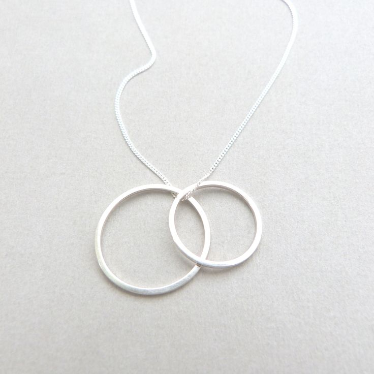 Double circle necklace in silver // Minimal luxe handmade jewellery by Elin Horgan