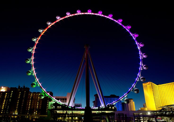 The world's tallest Ferris wheel, the appropriately named High Roller, welcomed its first passengers on Monday in Las Vegas.