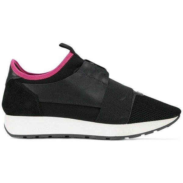 Balenciaga Balenciaga Race Runner Sneakers (695 PAB) ❤ liked on Polyvore featuring shoes, sneakers, black, black leather shoes, black leather trainers, balenciaga shoes, genuine leather shoes and leather trainers