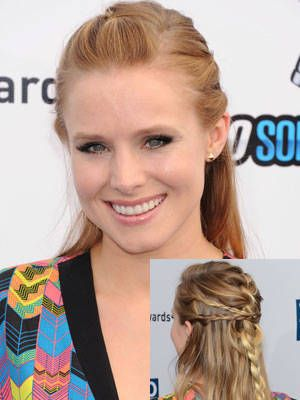 We're dying for Kristen Bell's unique half-up 'do—especially because it's not as complicated as it looks at first. There are four braid happening here: One main French braid that starts at the crown, plus three sneaky side braids that crisscross over the top. Leave the rest of your hair straight so it doesn't come off too princess-y.