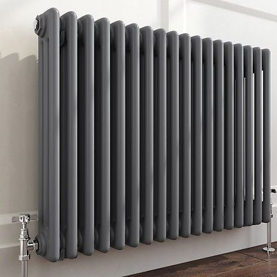 Traditional Cast Iron Style Horizontal Radiator Anthracite 3 Column 600 x 825 mm