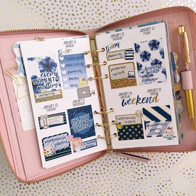 "Kate Spade Wellesley personal planner inspiration - vertical full week ""white space"" sticker spread"