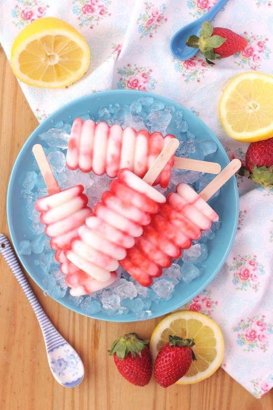 Polos helados de fresa y yogur - Megasilvita