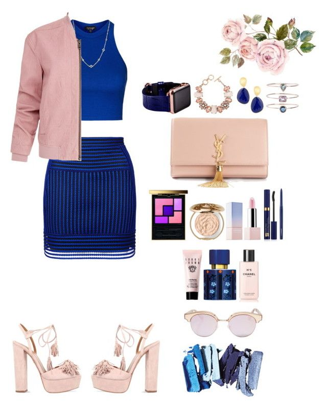 """Pink and blue"" by rannymarcella ❤ liked on Polyvore featuring Topshop, David Yurman, Helmut Lang, Aquazzura, Yves Saint Laurent, Sephora Collection, Estée Lauder, MAC Cosmetics, Chantecaille and Bobbi Brown Cosmetics"