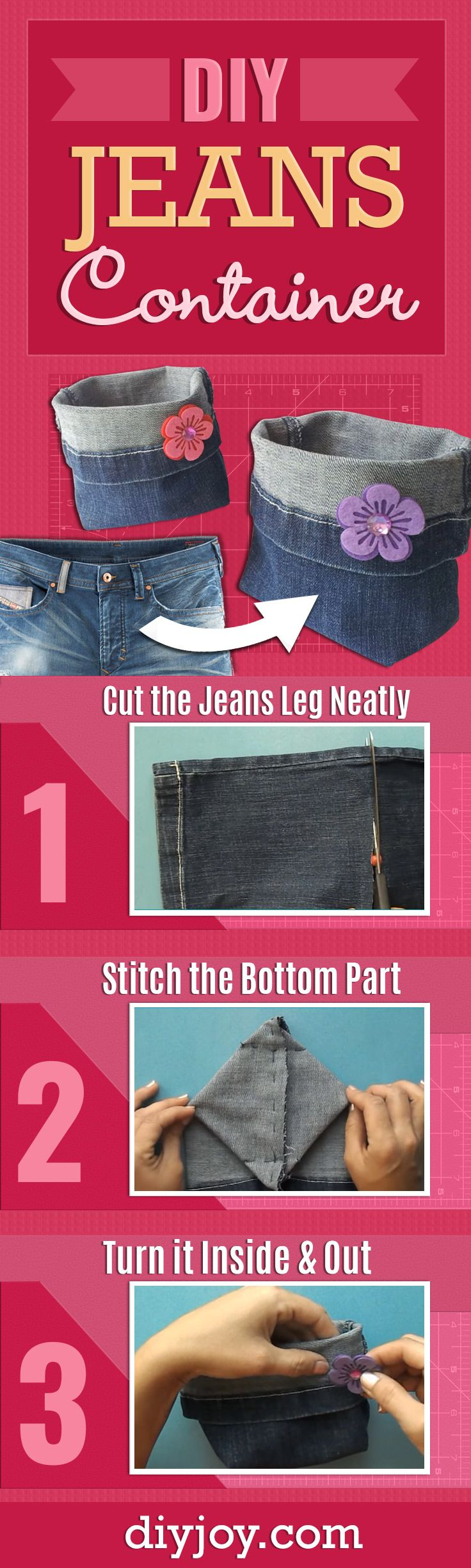DIY Jeans Container - Cool DIY Projects and Crafts to Make From Old Denim Jeans - Easy Step by Step Sewing Tutorial for a Cool DIY Christmas Gift Idea - DIY Projects and Crafts for Women