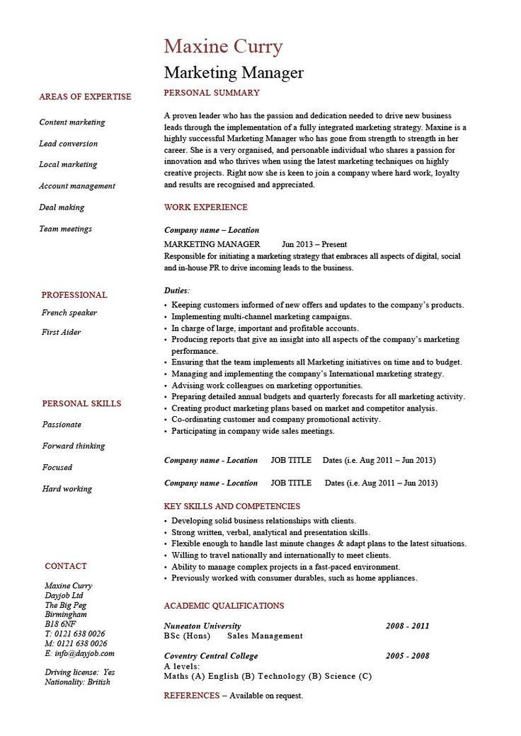 Marketing Manager resume example, CV template, skills