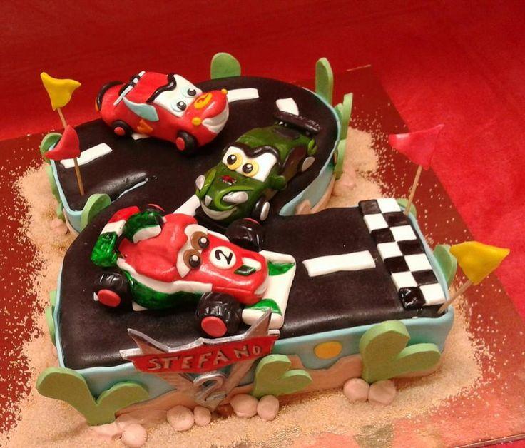 Torta di Compleanno decorata cake design Cars Saetta Mcqueen Pasticceria Bellucci a Firenze