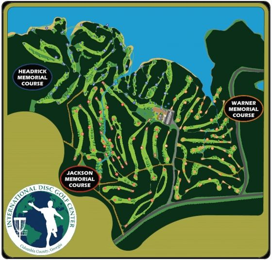 IDGC Map - The International Disc Golf Center is home to 3 Championship Course, the Disc Golf Hall of Fame Museum,Clubhouse,Pro Shop, Training and Competition Complex.