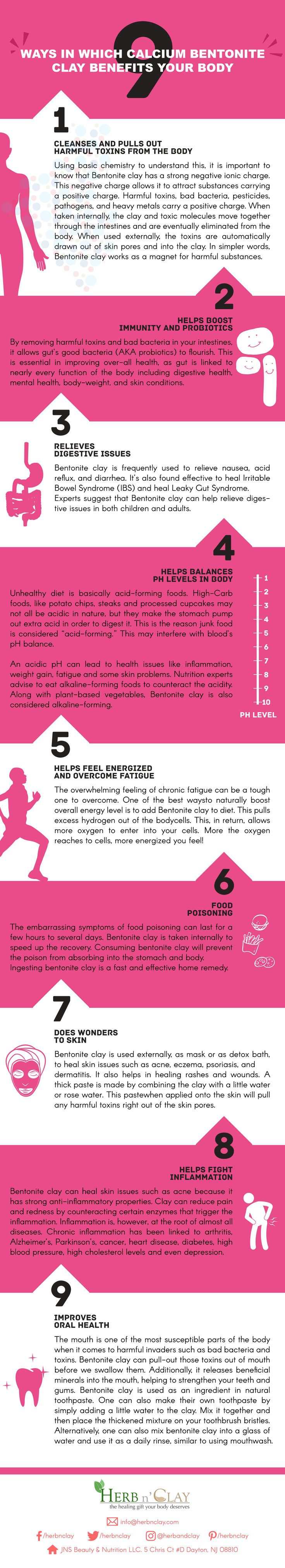 9 Ways In Which Calcium Bentonite Clay Benefits Your Body - Checkout this amazing infographic for proven bentonite benefits.