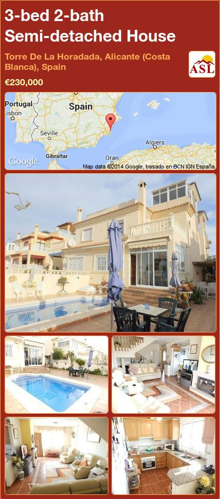 3-bed 2-bath Semi-detached House in Torre De La Horadada, Alicante (Costa Blanca), Spain ►€230,000 #PropertyForSaleInSpain