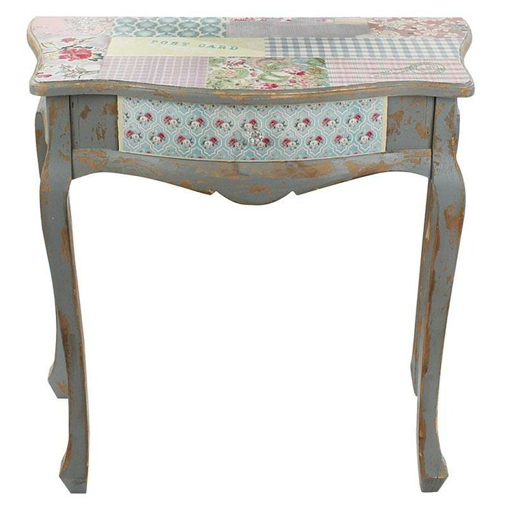 Elegant wooden #console with fabric in antique color and pastel patchwork www.inart.com