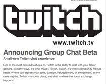 Twitch Announcing - Group Chat Beta