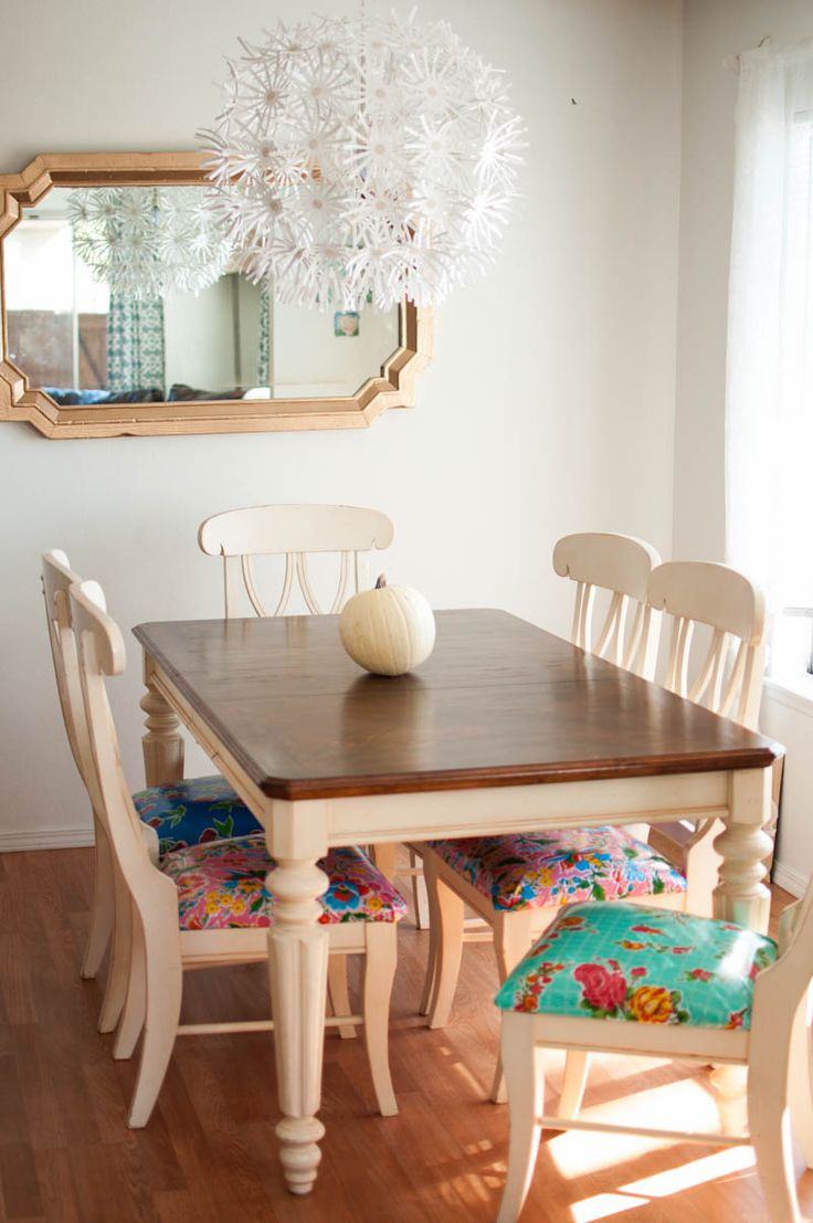 Different colored dining chairs - A Kitchen Table To Be Thankful For A Make Over Story Mismatched Dining Chairspainted