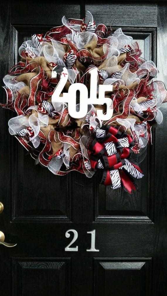 Large Burlap Wreath University of Alabama Graduation Football Basketball Baseball Crimson Burgandy White Chevron Polka Dots Mesh  Ribbon