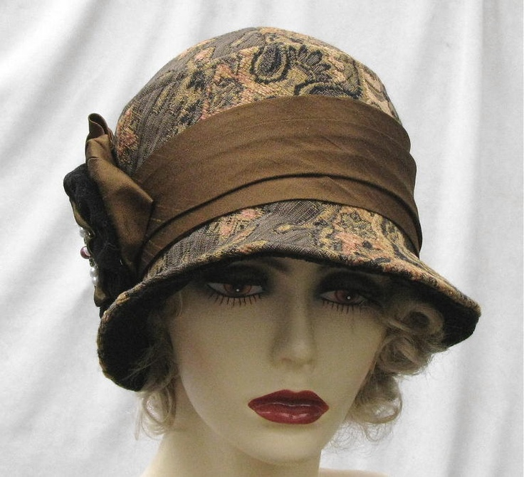 womens 1920 s couture millinery hat cloche tapestry fabric