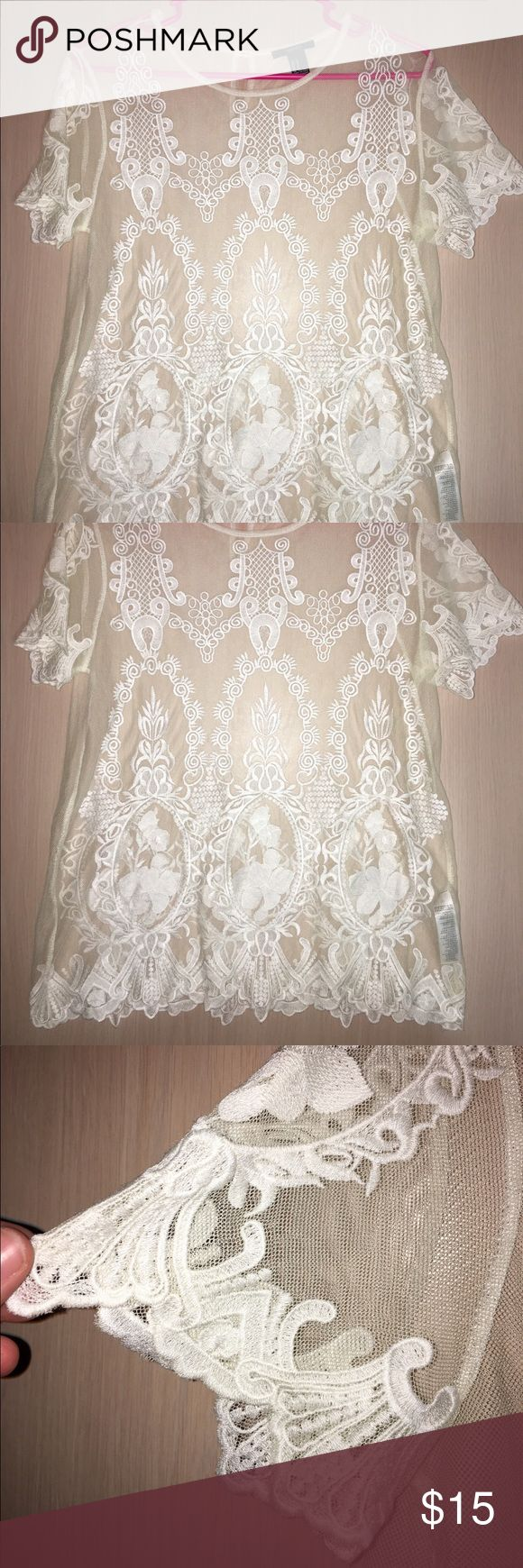 Forever21 cream lace top Very good condition, see through all over lace top Forever 21 Tops Blouses