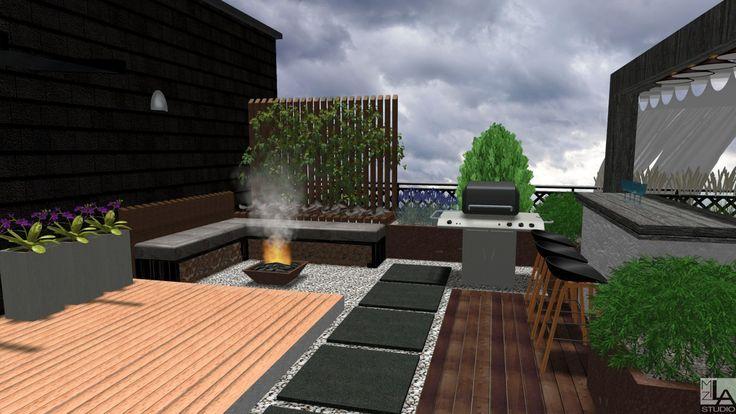 Nowoczesny ogród na dachu z paleniskiem i grillem.