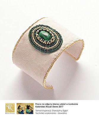 koralikowe fantazje Noiree: Bransoletka Malachite - malachite with Toho beads #bracelet #embroidery #malachite #beads