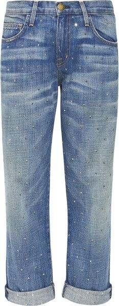 CURRENT ELLIOT The Boyfriend Mid-rise Swarovski Crystal-studded Jeans The only jeans a Millionairess would wear :)
