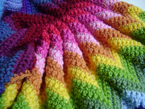 Custom Orders Only - Technicolor Crocheted Blanket  by sheilalikestoknit