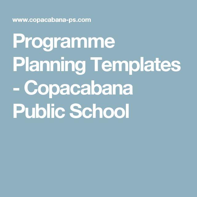 Programme Planning Templates - Copacabana Public School