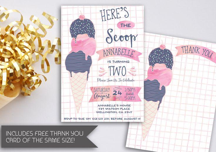 Ice Cream Birthday Invitation | Ice Cream Party Invitation | Here's The Scoop | Ice Cream Party | Ice Cream Party Theme | Ice Cream (172) by kellylouisedesigns on Etsy