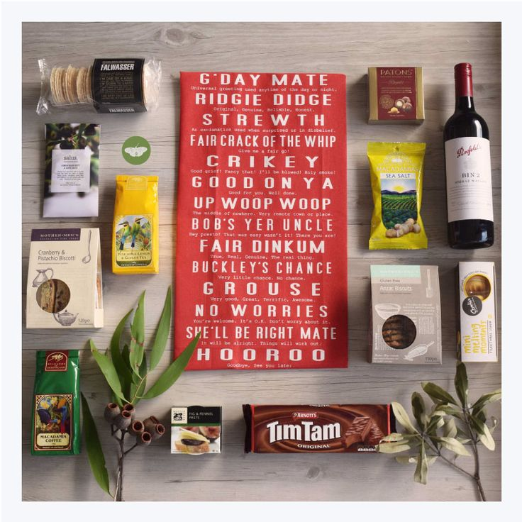 Gift Hamper: Welcome to Australia features this classic Aussie Slang tea towel from Kirsten Howarth and a swag of Australian Made treats including the delicious Penfolds Bin 2 Shiraz Mataro and the Australian classic Tim Tams. Mmmmm!!!!! Yes please!