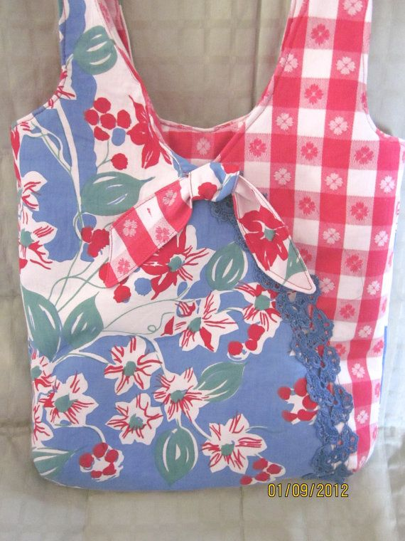 Recycled Vintage Tablecloth Tote/Purse- good use for the damaged ones