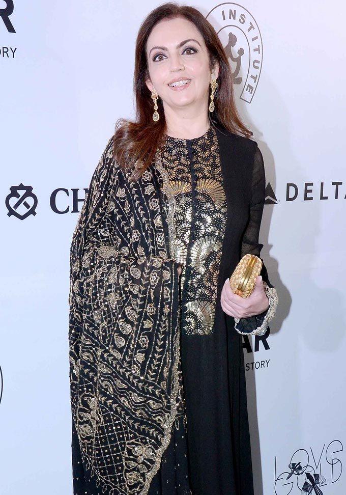 Nita Ambani at the amfAR India gala. #Page3 #Fashion #Style #Beauty