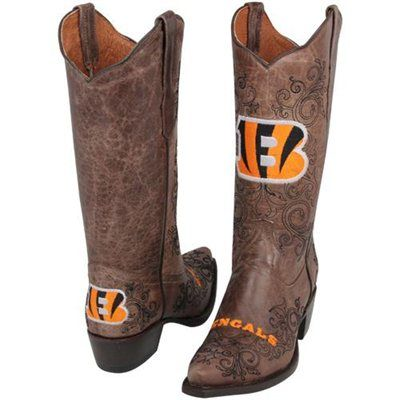 Cincinnati Bengals Womens Embroidered Cowboy Boots - Brown - this is WEIRD but I had to pin!