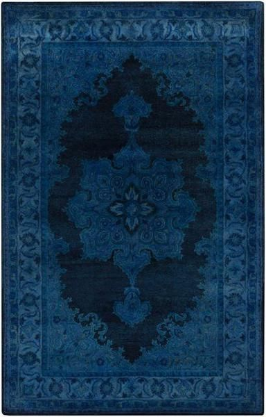 Antique Wash Overdyed Rug In Bright Blue, Navy And Teal