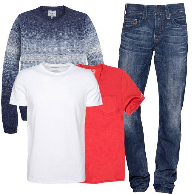 В зависимости от того, как вы себя чувствуете, или хотите чувствовать, вы можете предпочесть белый или красный акцент. Нейтральный, стильный и удобный фон для этого яркого акцента универсален: стильные джинсы True Religion и приятный к телу и комфортный свитер деграде Pepe Jeans London.  #мода #стиль #тренды #джинсы #модно #стильно